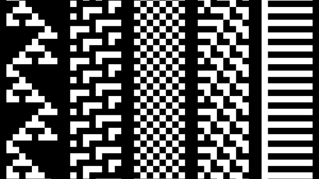 5 different rulesets for Wolfram's 1 Dimension Cellular Automata, each row is a generation